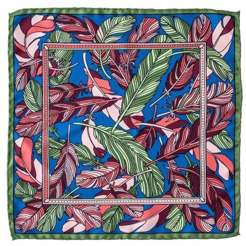 silk pocket square feathers
