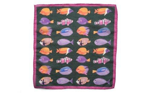 Poszetka bawełniano-jedwabna ryby