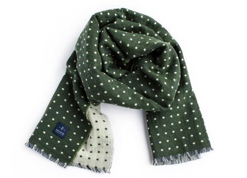 zielony dwustronny szal wełniano-bawełniany