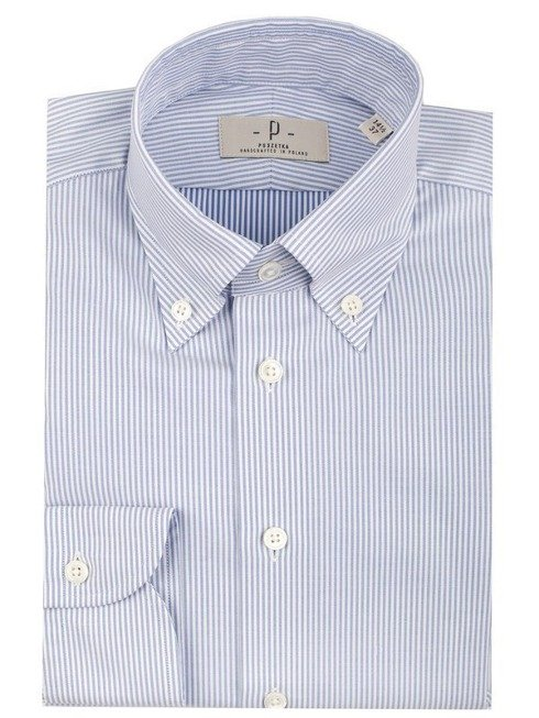 button down shirt with blue stipes