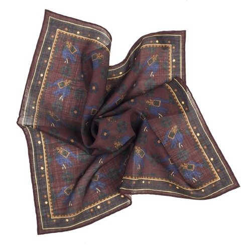 BURGUNDY macclesfield pocket square
