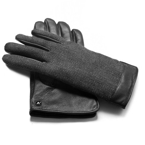 Black herringbone gloves