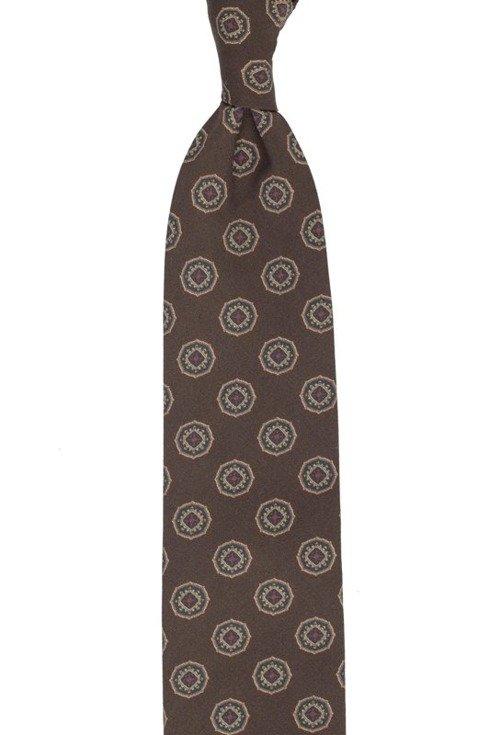 Brown printed wool untipped tie