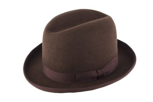 Brown wool Homburg hat