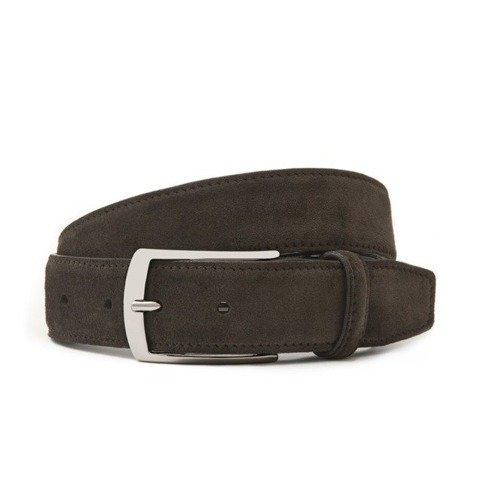 Chocolate suede leather belt