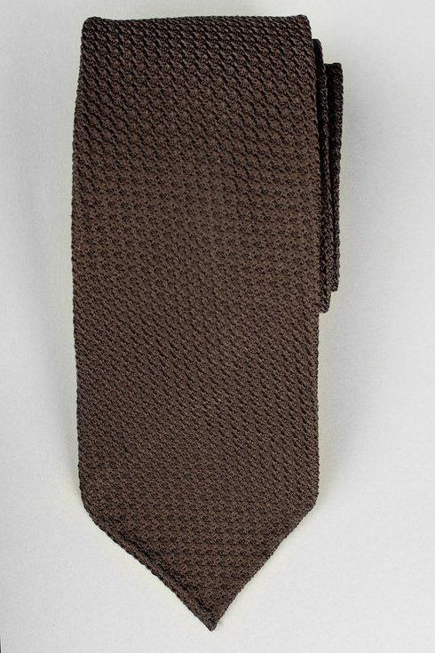 Dark brown grenadine untipped tie