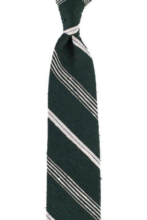 GREEN-WHITE REGIMENTAL SHANTUNG TIE