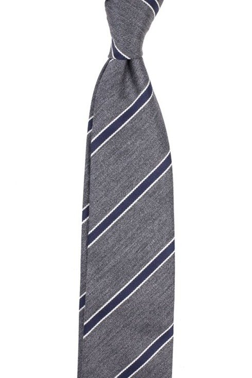 GREY AND NAVY REGIMENTAL UNTIPPED HANDROLLED TIE