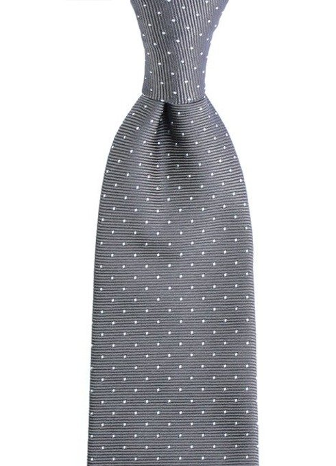 GREY POLKA DOTS  SIX FOLD TIE