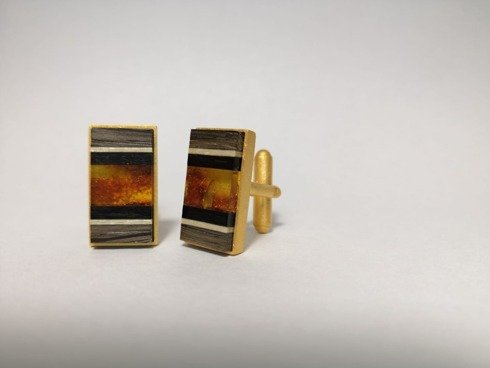 Gold plated Cufflinks with amber AMBERWOOD