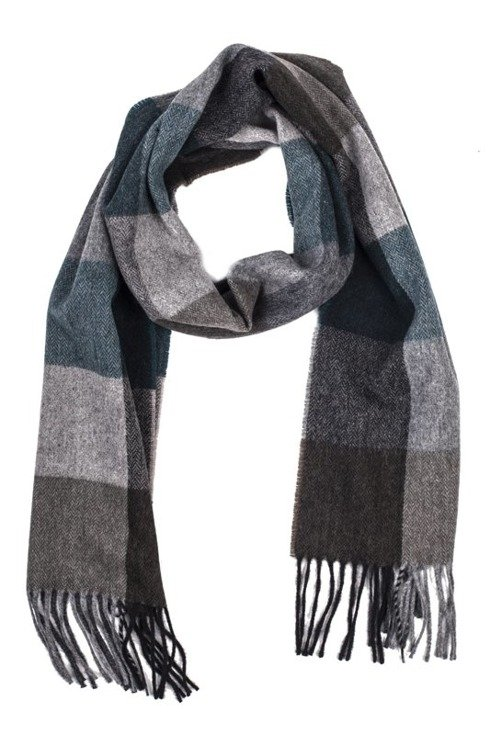 Gray & green  scarf with cashmere