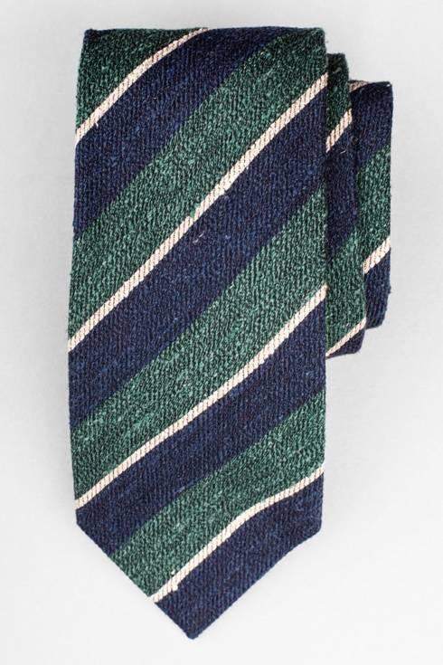 Green & navy wool shantung regimental tie
