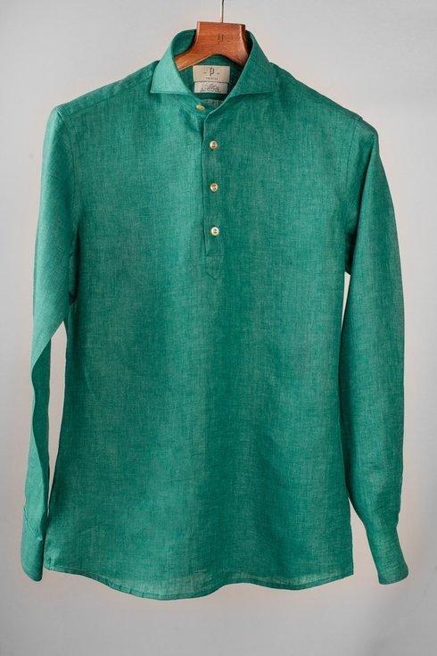 Linen spreed collar popover shirt Albini