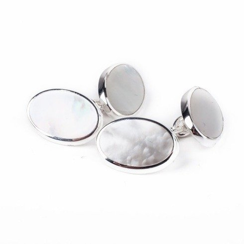 PLAIN DOUBLE OVAL CHAIN LINK Silver Cuff Links