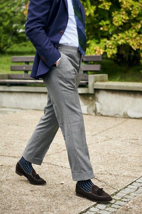 Sharkskin grey trousers