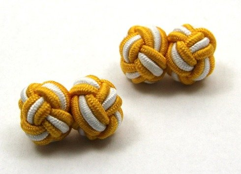 Silk knots yellow and white