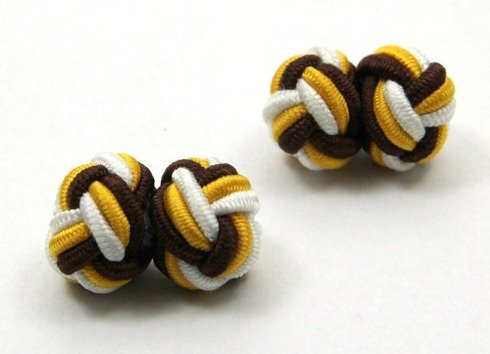 Silk knots yellow, white and brown