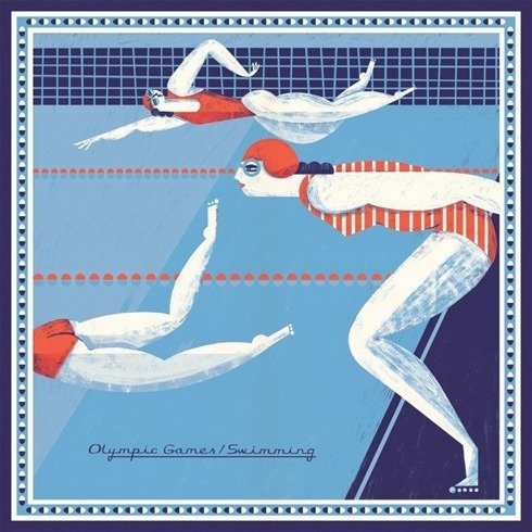 Silk scarf 100 cm Gosia Herba ilustration