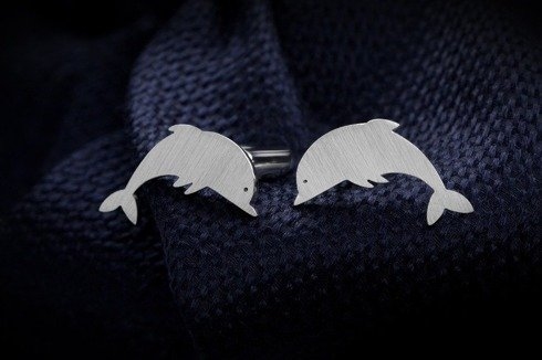 Silver Cuff Links Dolphin