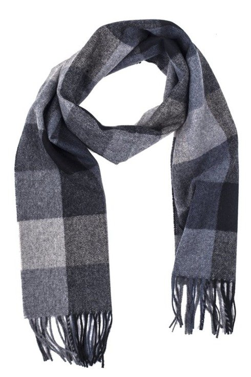 TONES OF GRAY checkered woolen scarf