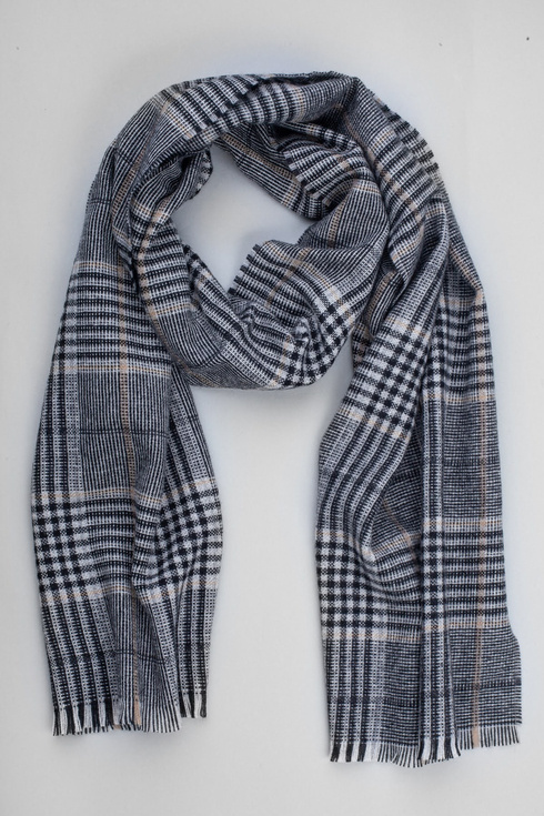 Tones of grey cashmere checked scarf