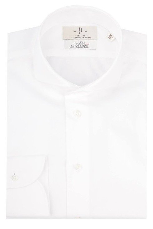 White cutaway collar shirt Albini