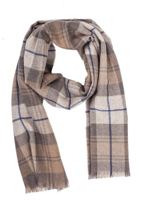 beige checked cashmere scarf