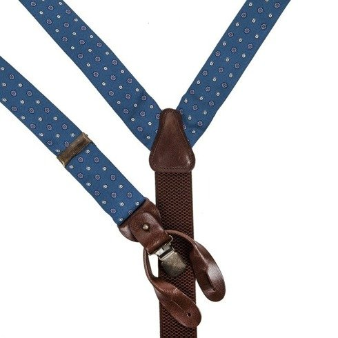 blue printed silk BRACES