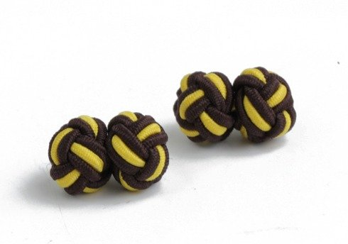 brown and yellow silk knots