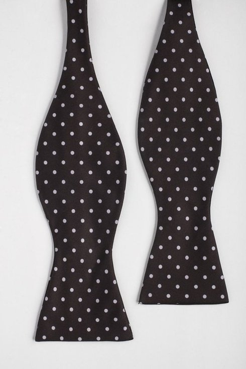 brown polka dots Macclesfield bow tie