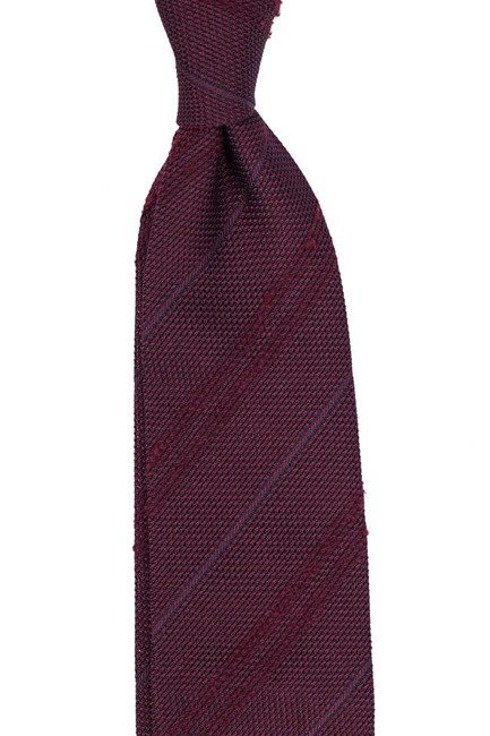 burgundy Grenadine tie with shantung stripes