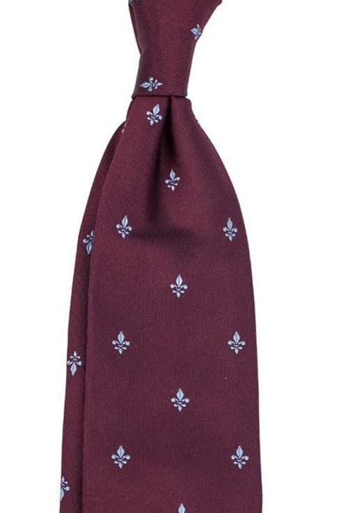 burgundy SIX FOLD TIE with fleur-de-lis