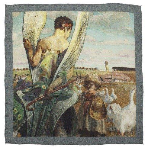 charitable pocket square with Jacek Malczewski painting