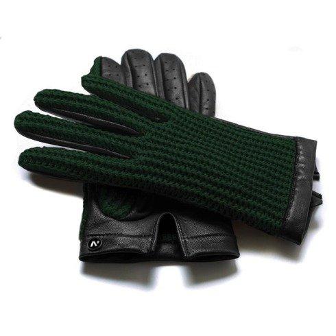 green crochet gloves
