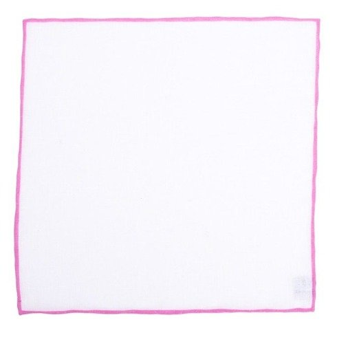 linen pocket square with rouge border