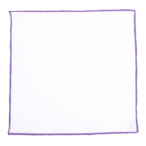 linen pocket square with violet border