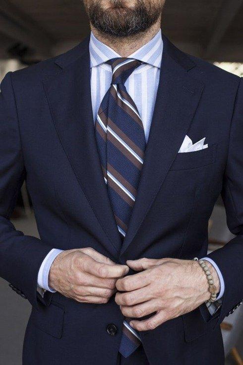 navy melange grenadine stripped tie