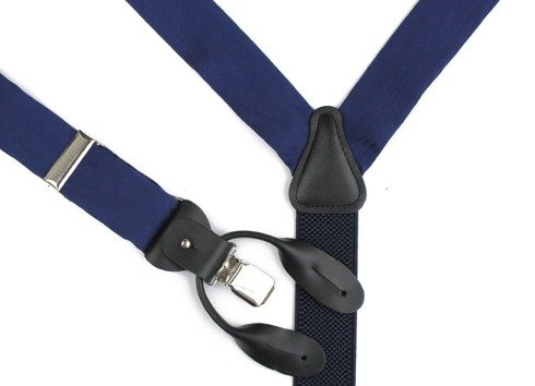 navy moire BRACES 3,5 CM CLIPS & BUTTONS