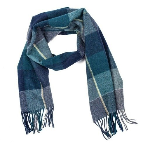 navy & turquoise checkered woolen scarf