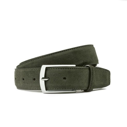 olive suede leather belt
