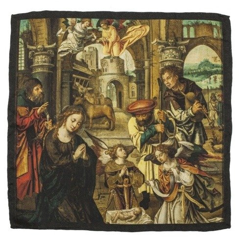 pocket square 'Adoration of the Shepherds Luke 2, 16-20' Pieter Coecke van Aelst