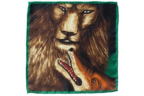 pocket square 'Lion with fox'