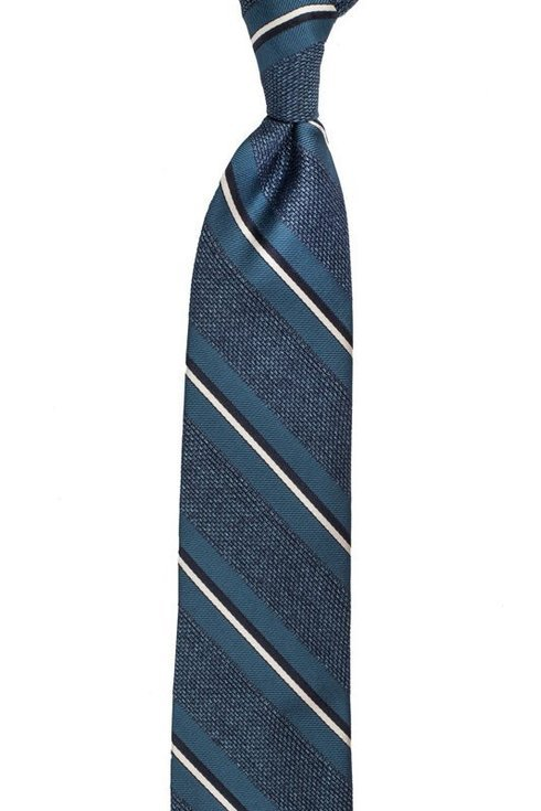 sea blue melange grenadine stripped tie