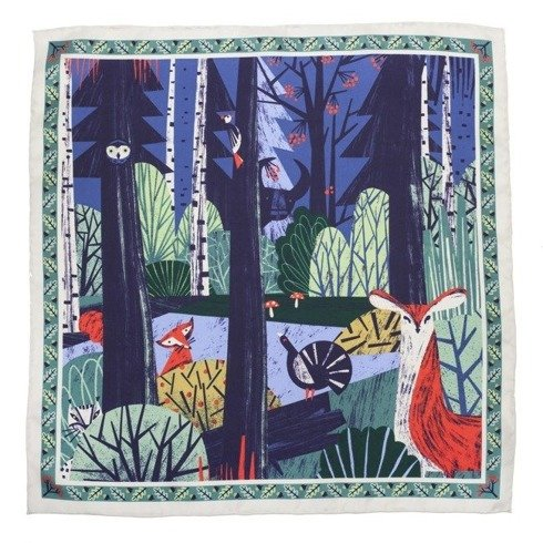 silk 100 cm scarf POLISH WOOD Gosia Herba