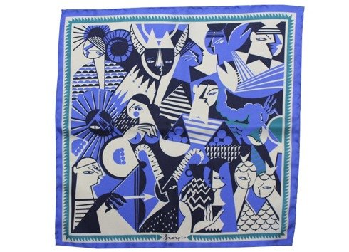 silk pocket square zodiac scorpio/scorpion