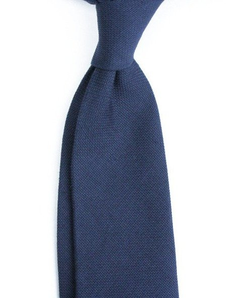 untipped linen jacquard navy TIE