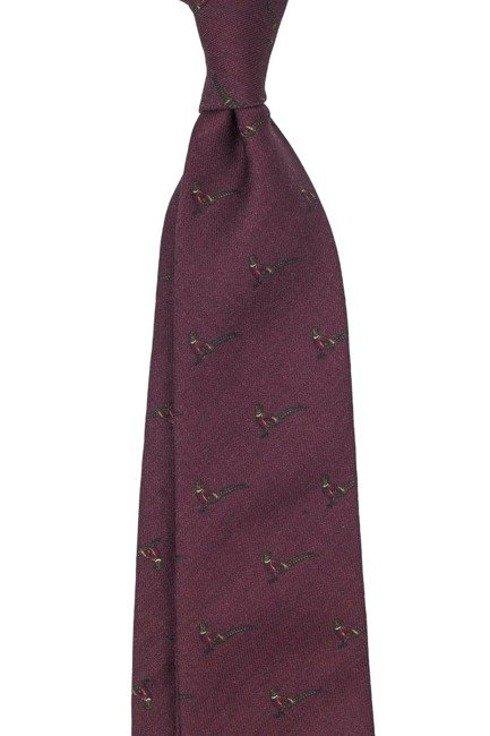 untipped wool challis tie burgundy pheasant