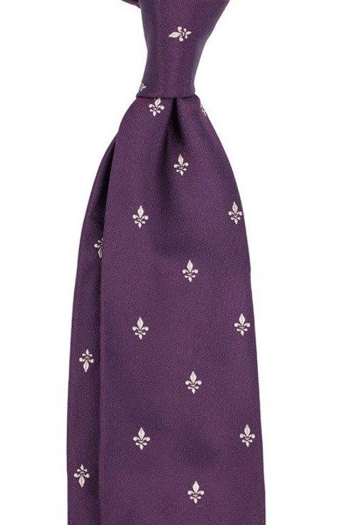 violet SIX FOLD TIE with fleur-de-lis