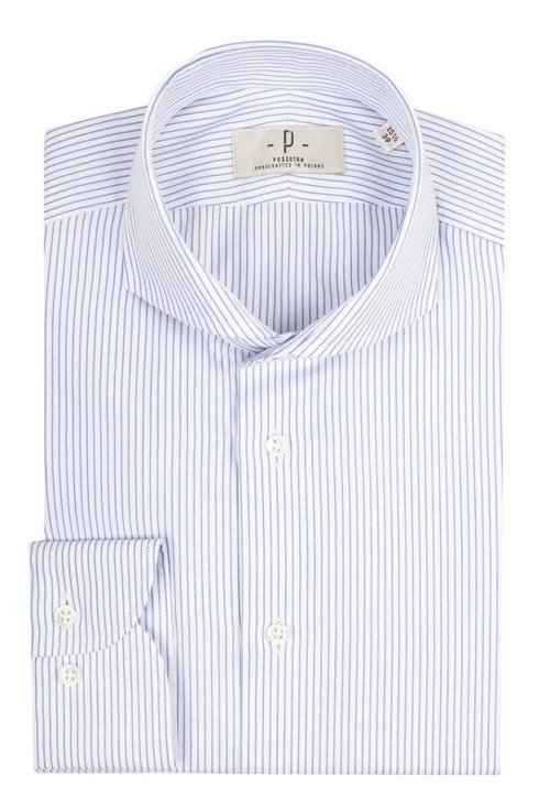 white cutaway collar shirt with blue stipes
