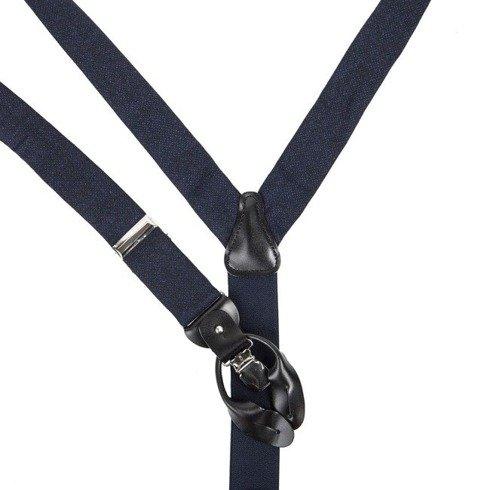 wool BRACES black + blue navy